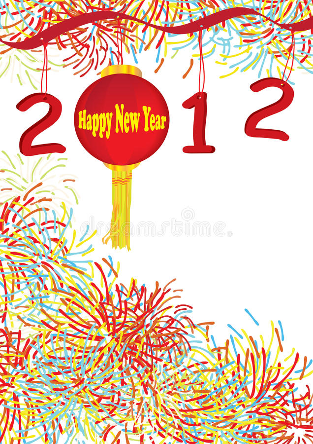 2012 eps nowy rok szczęśliwy latarniowy ilustracja wektor