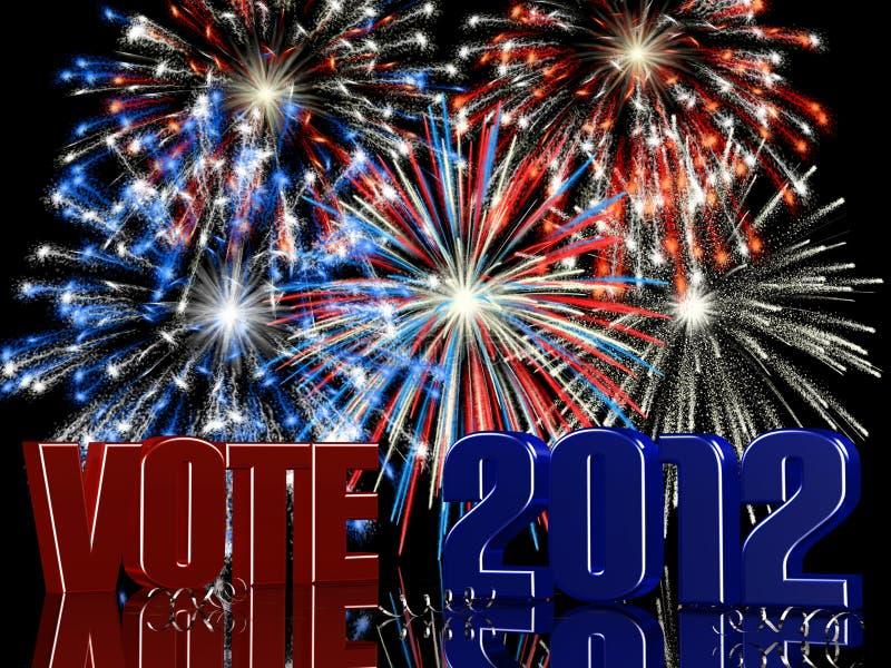 2012 fajerwerków głosowanie ilustracja wektor