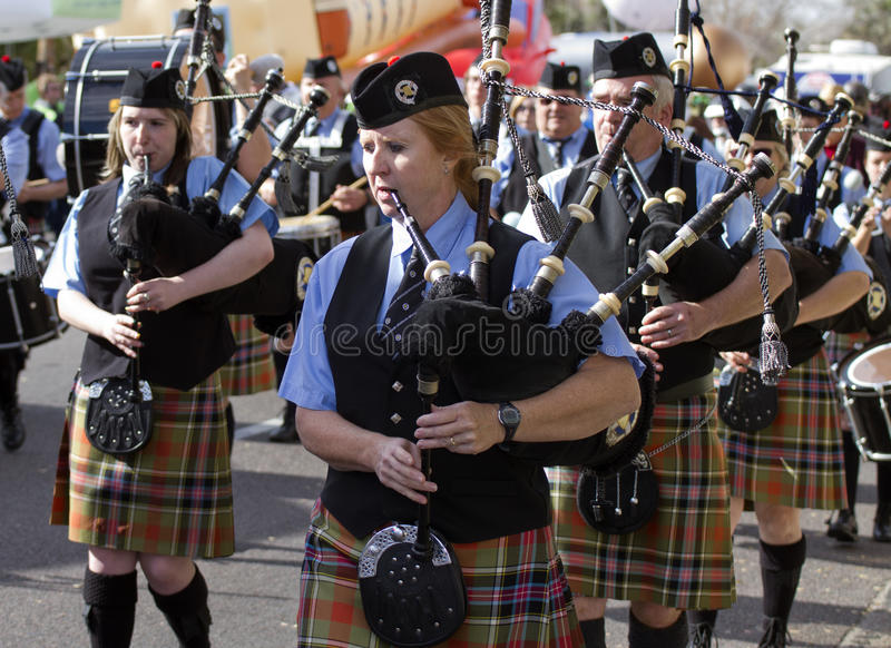 2012 Fiesta Bowl Parade Bagpipers Editorial Photography