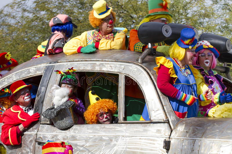 2012 Fiesta Bowl Parade Oversize Car Clowns Editorial Stock Image
