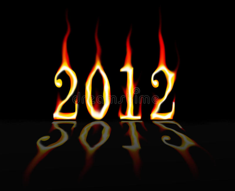 2012 on Fire. The numbers 2012 burning with a black background and reflection royalty free illustration