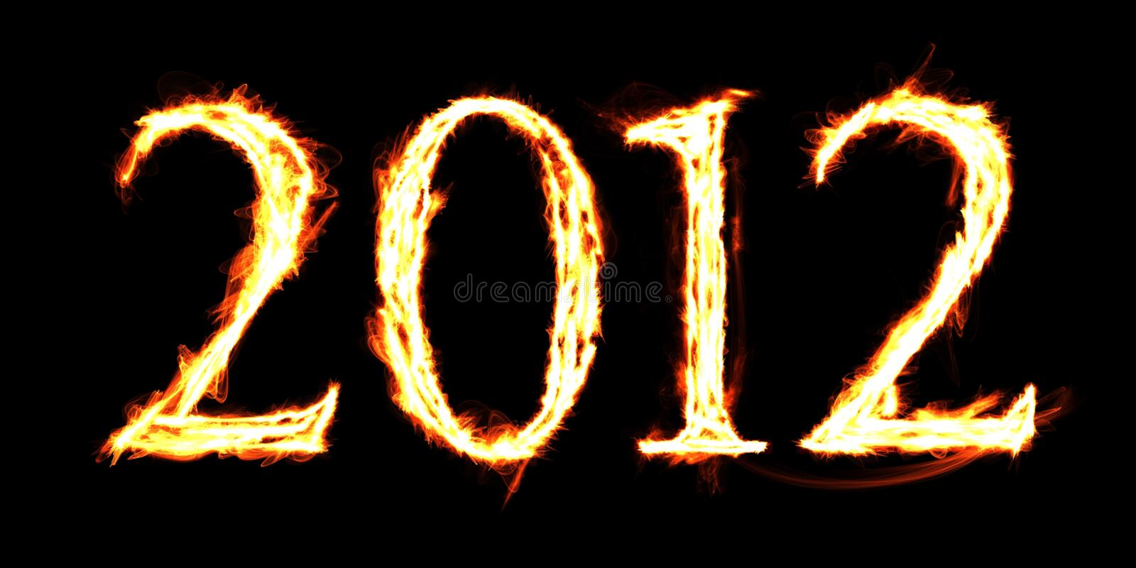 2012 Flames. The word 2012 created with flaming letters royalty free stock photos