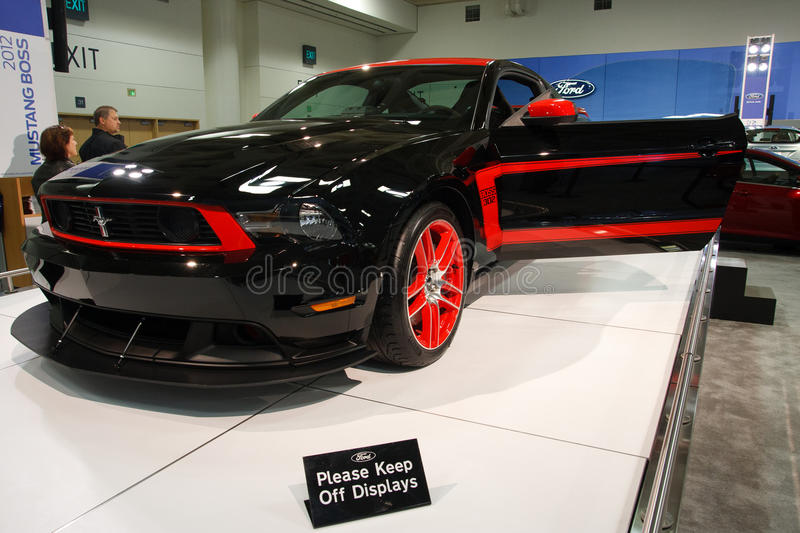 2012 Ford Mustang Boss 302. SAN FRANCISCO - NOVEMBER 21: A 2012 Ford Mustang Boss 302 on display during the 2011 International Auto Show at the Moscone Center in royalty free stock images