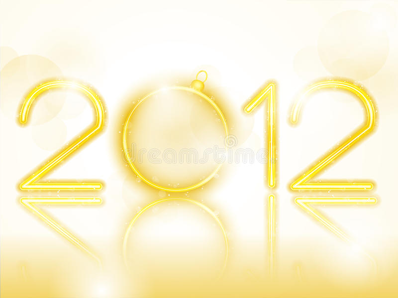 Download 2012 Golden Neon With Christmas Ball Stock Image - Image: 21503141