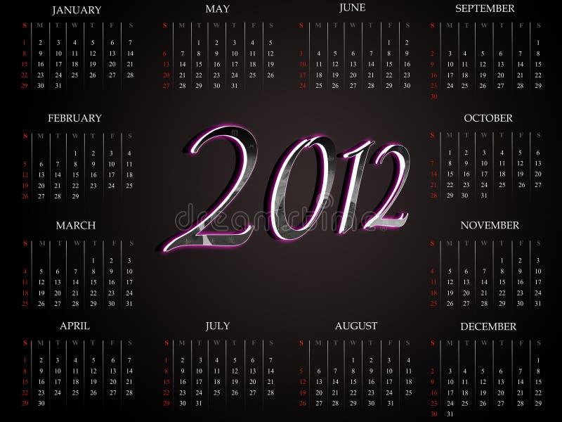 2012 härliga kalender arkivfoton