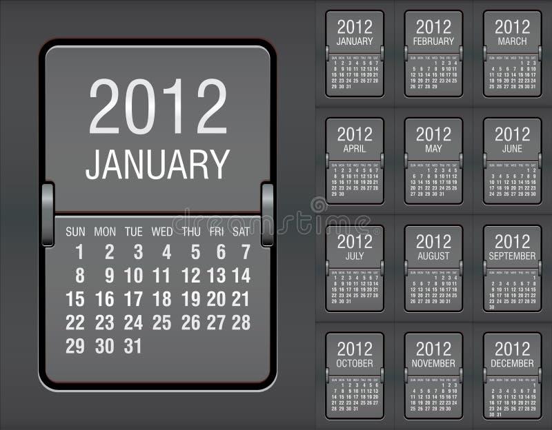 2012 kalendarzowa machinalna tablica wyników ilustracji