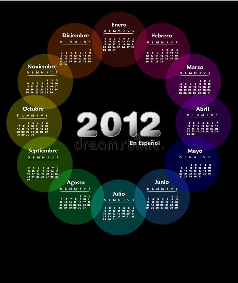 2012 kalendarzowego kolorowego spanish ilustracji