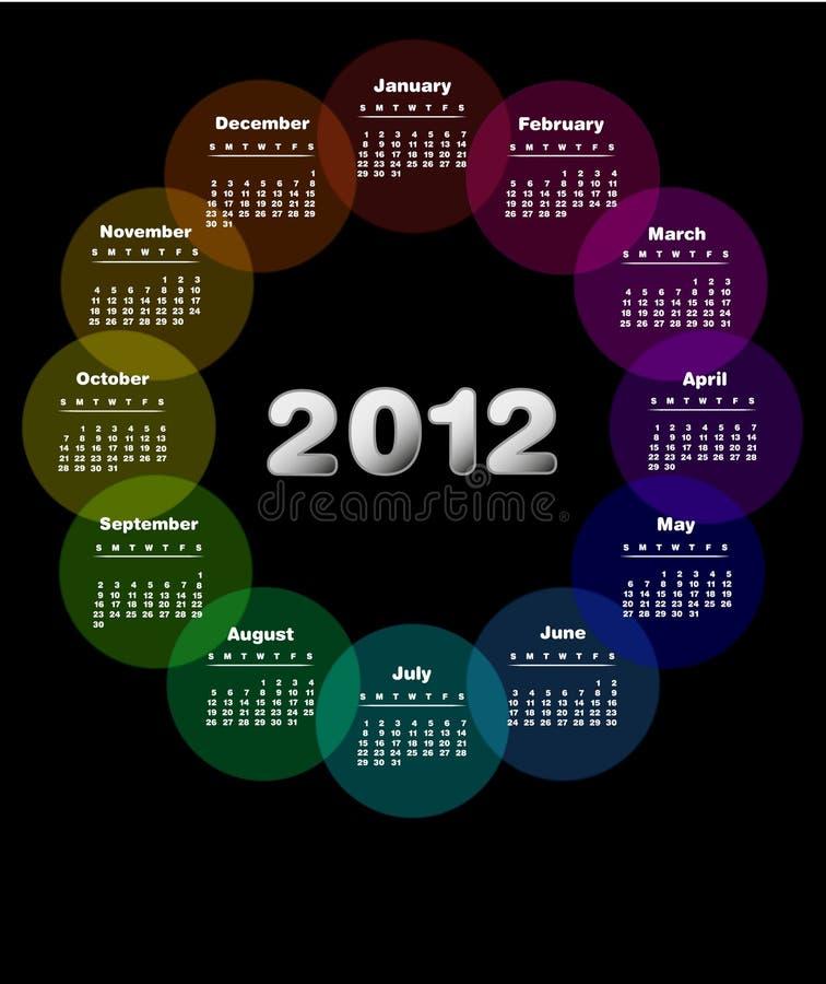2012 kalendarzowy kolorowy projekt royalty ilustracja
