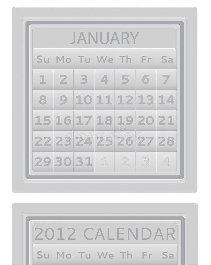 2012 kalendarzowy Styczeń ilustracji