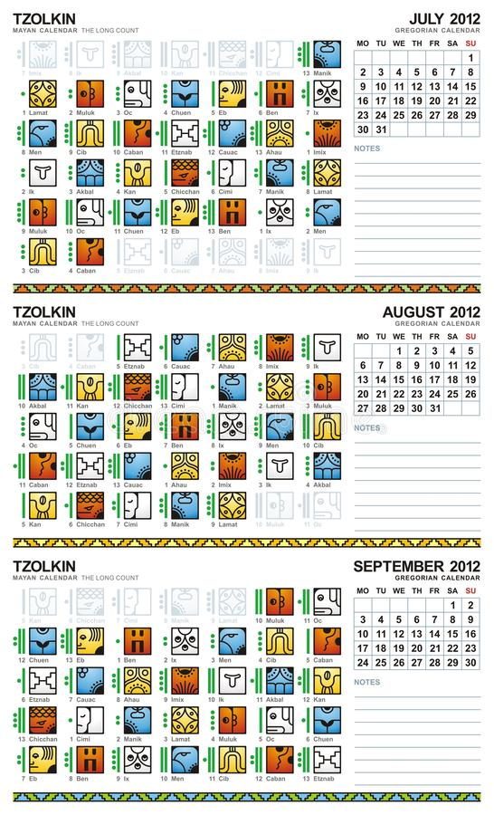 2012 kalender europeiska juli mayan september vektor illustrationer