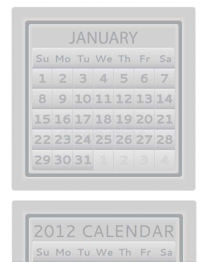2012 kalender januari royaltyfri fotografi