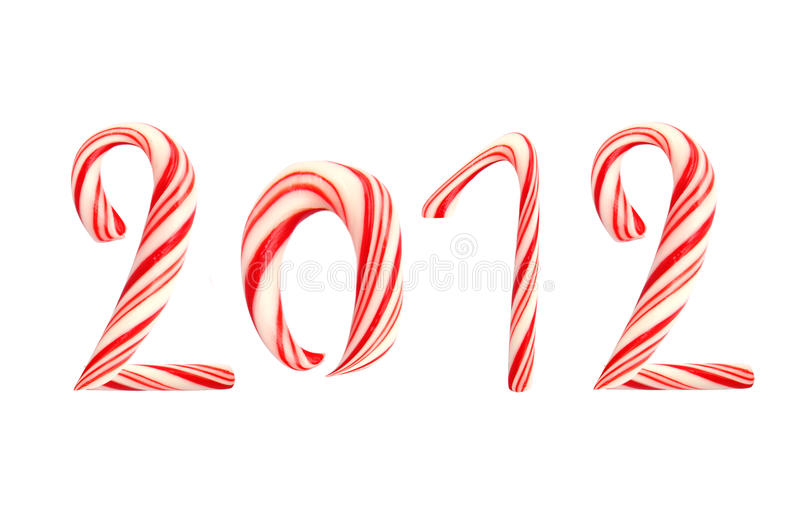2012 Made Of Christmas Lollipop Cane Isolated Royalty Free Stock Image