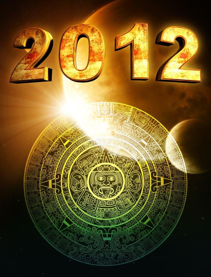 2012. Maya prophecy. 2012. Vertical background with Maya calendar vector illustration