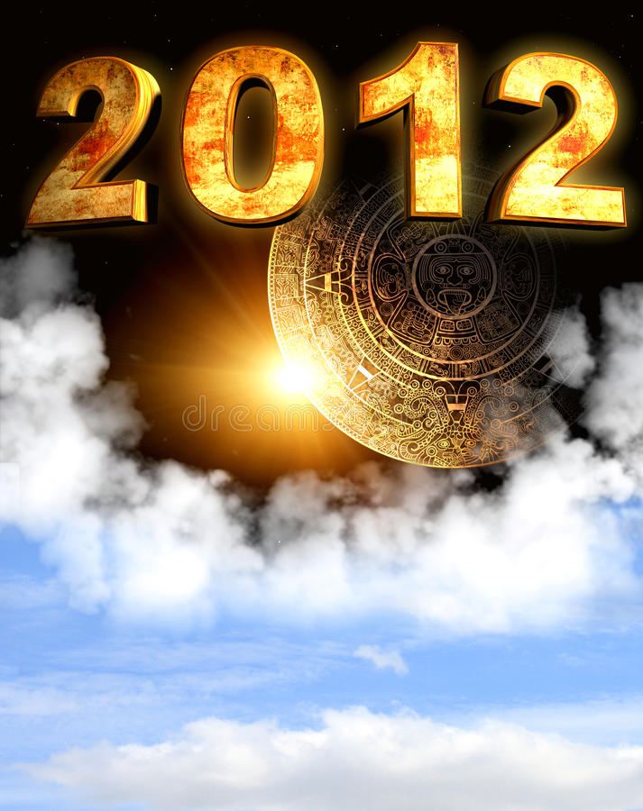 2012. Maya prophecy. Vertical background with calendar and space cloud royalty free illustration