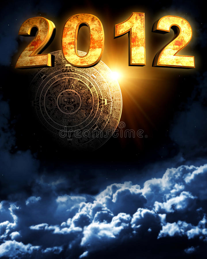 2012. Maya prophecy. Vertical background with calendar and space cloud vector illustration