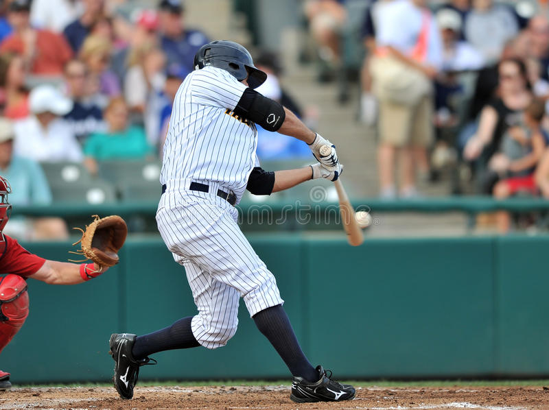 2012 Minor League Baseball - Eastern League. TRENTON, NJ - JULY 29: Trenton batter Kevin Mahoney swings at a pitch during an Eastern League baseball game July 29 stock images