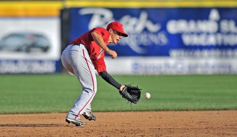 2012 Minor League Baseball - Eastern League. TRENTON, NJ - JULY 29: Harrisburg shortstop Zach Walters fields a grounder during an Eastern League baseball game royalty free stock photography