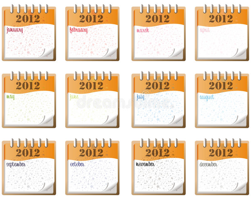 Download 2012 monthly notes stock vector. Image of american, beautiful - 20199245