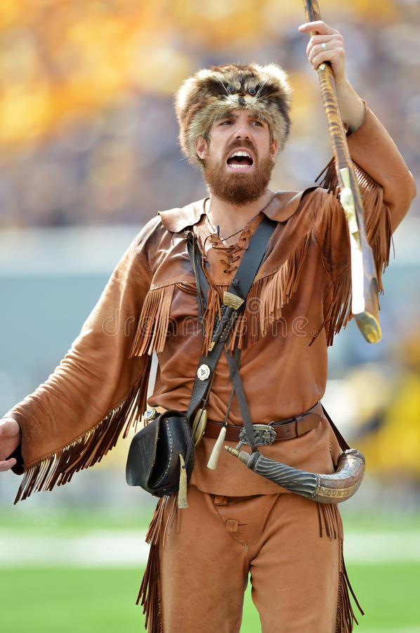 2012 NCAA football - Baylor @ WVU. MORGANTOWN, WV - SEPTEMBER 29: The West Virginia University mountaineer (Mascot) celebrates a score during a Big 12 conference stock photo