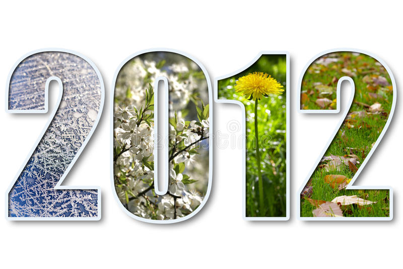 2012 new year. 2012 digits title with seasons background over white royalty free stock image