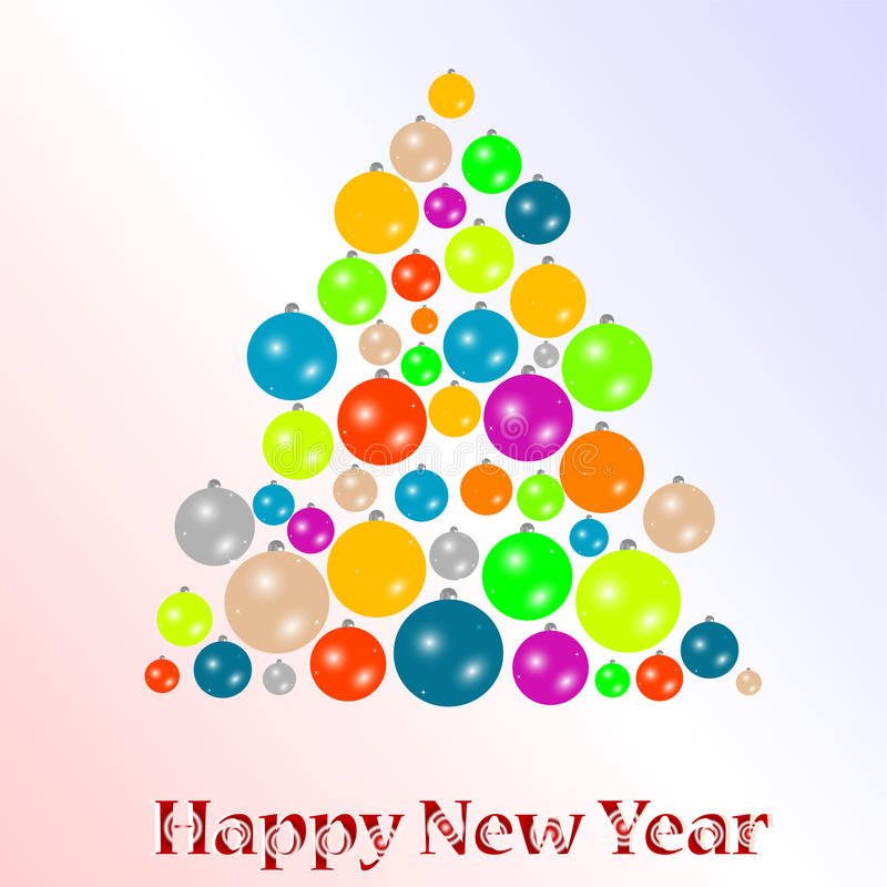 2012 New year background with christmas tree balls vector illustration