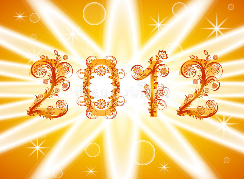 Download 2012 New Year Background With Floral Or Stock Vector - Illustration: 20802642