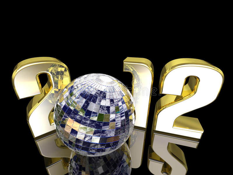 2012 New Year Disco Earth Ball vector illustration