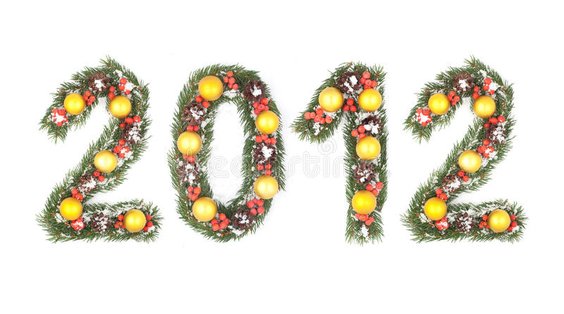 2012 Number Written By Christmas Tree Branches Royalty Free Stock Image