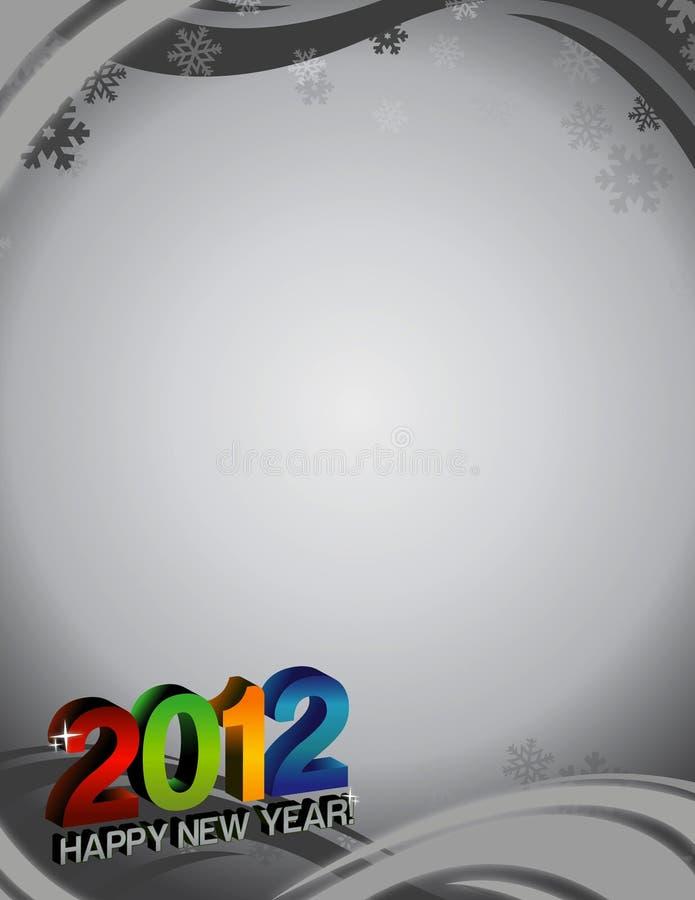 2012 nuovi anni di scheda con priorità bassa illustrazione di stock