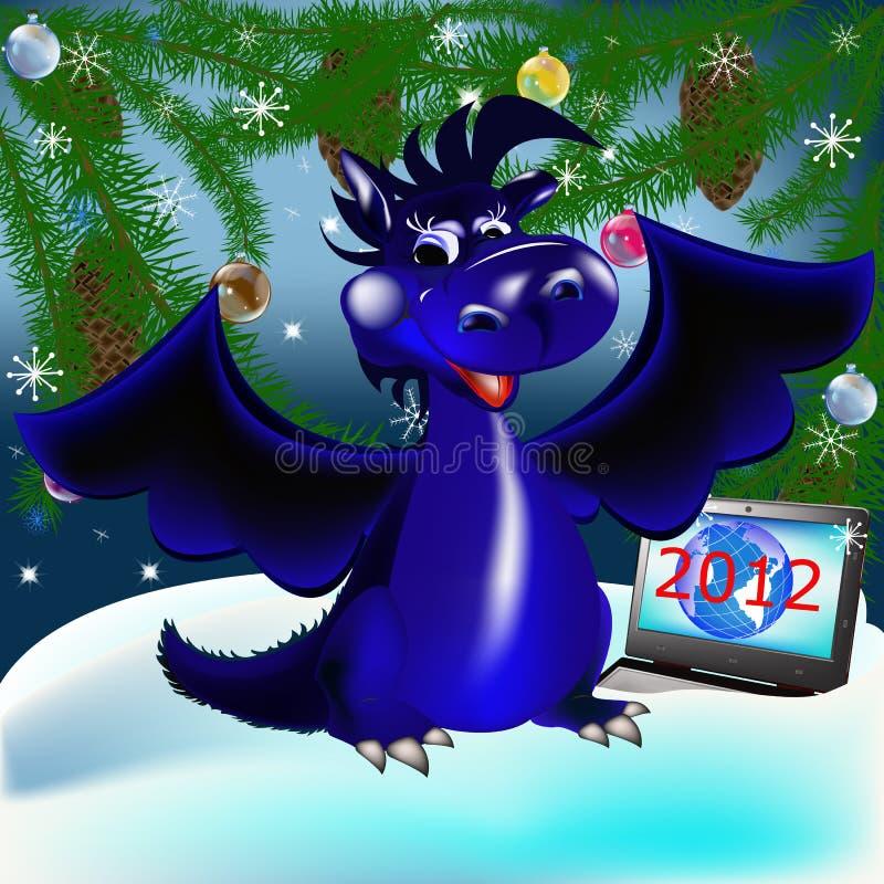 2012 nya s symbolår för blå mörk drake royaltyfri illustrationer