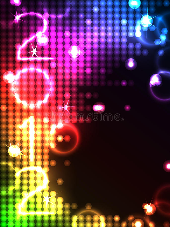 2012 octagon neon glowing background vector illustration