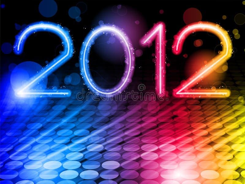 2012 onde variopinte astratte su priorità bassa nera illustrazione vettoriale