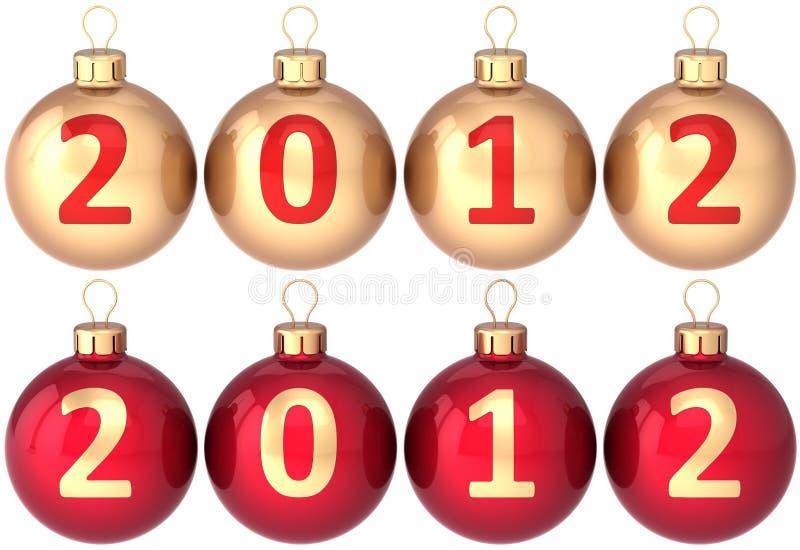 2012 piłek baubles bożych narodzeń nowy ustalony rok ilustracja wektor