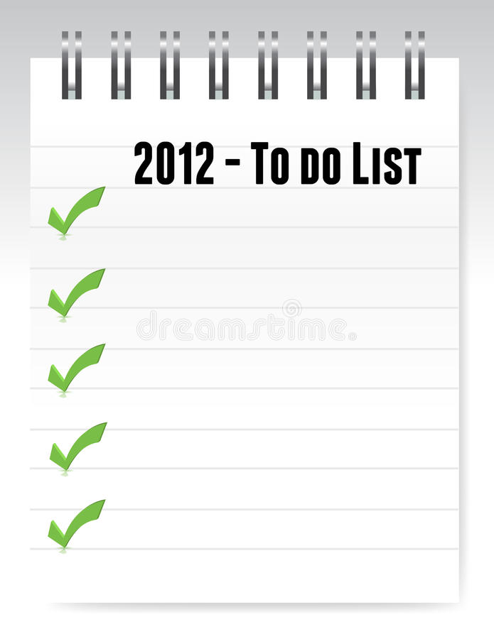 2012 To Do List Notepad Illustration Design Stock Photography