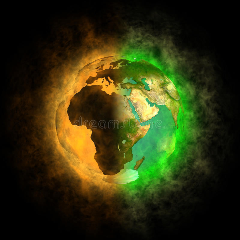 2012 - Transformation von Erde - Europa, Asien, Afr vektor abbildung