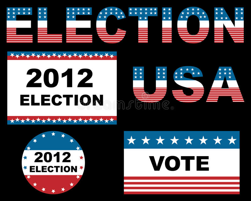 2012 USA election. Designs isolated on black background. EPS file available royalty free illustration