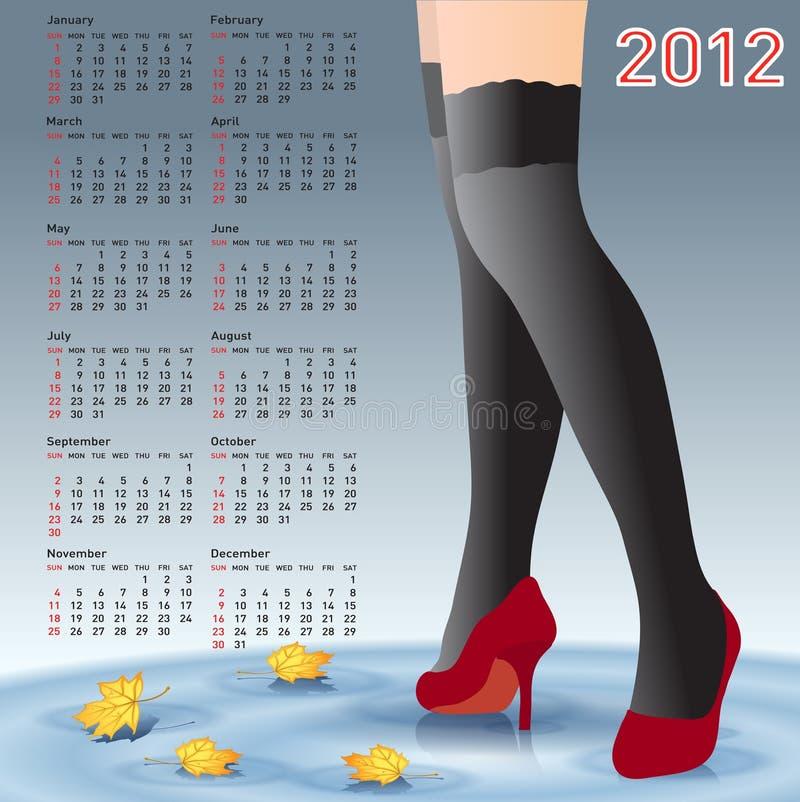 2012 weibliche Fahrwerkbeine des Kalenders in den Strümpfen vektor abbildung
