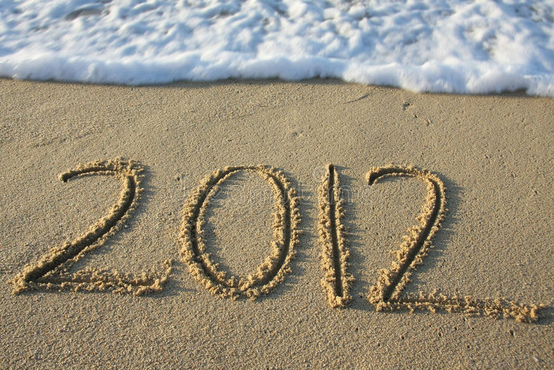 Download 2012 written in the sand stock image. Image of wave, written - 20851133