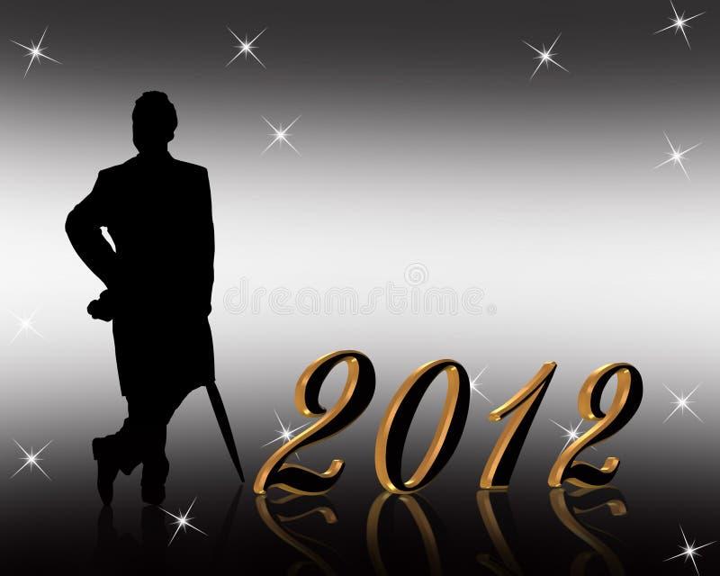 2012 zaproszenie nowy rok ilustracja wektor