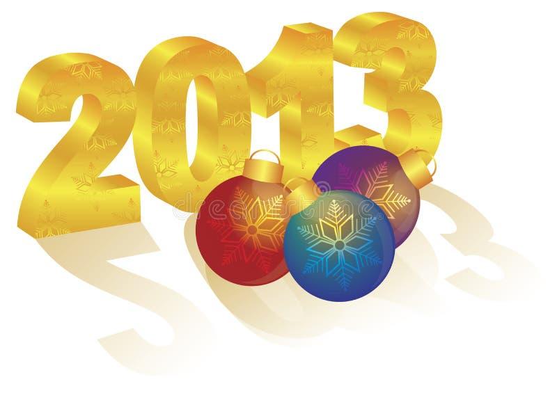 2013件新年度3D金子数字装饰品 库存例证