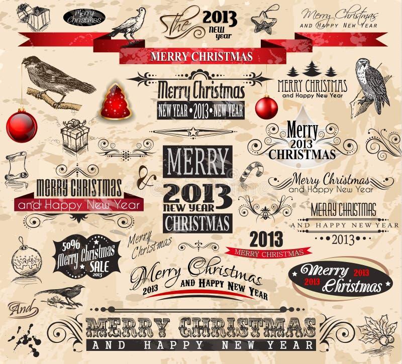 2013年圣诞节葡萄酒typograph设计要素 皇族释放例证