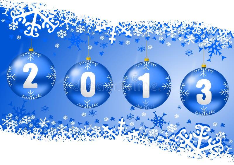 2013新年度与圣诞节球的例证 库存例证