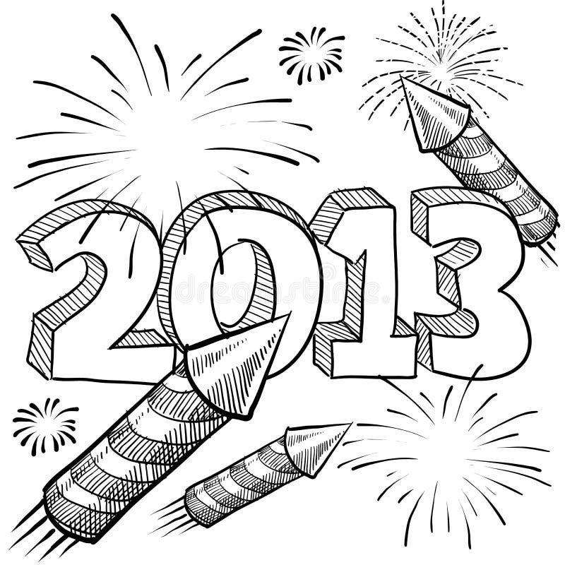 2013 διάνυσμα πυροτεχνημάτων του νέου έτους απεικόνιση αποθεμάτων