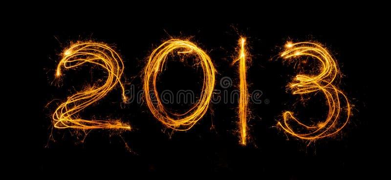2013 που γράφεται στα sparklers στοκ εικόνες με δικαίωμα ελεύθερης χρήσης