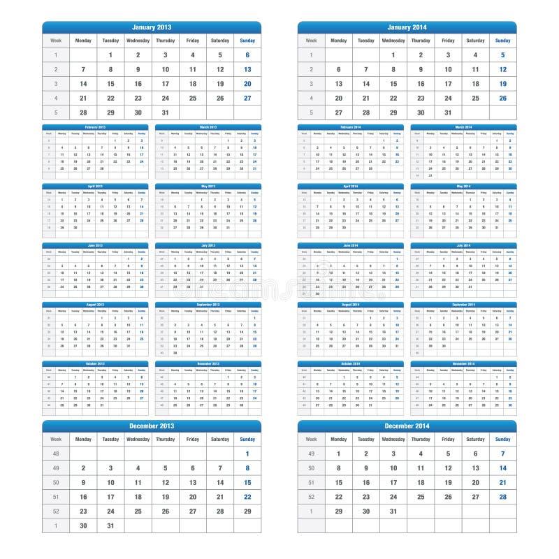 Free 2013 2014 Calendar Royalty Free Stock Photos - 24601818