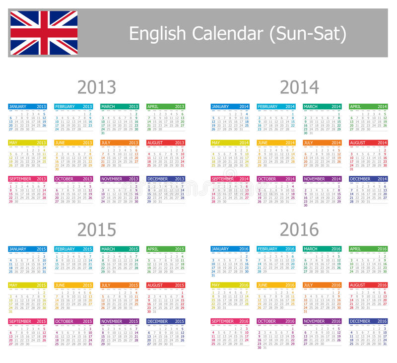 Download 2013-2016 Type-1 English Calendar Sun-Sat Stock Vector - Image: 24376228