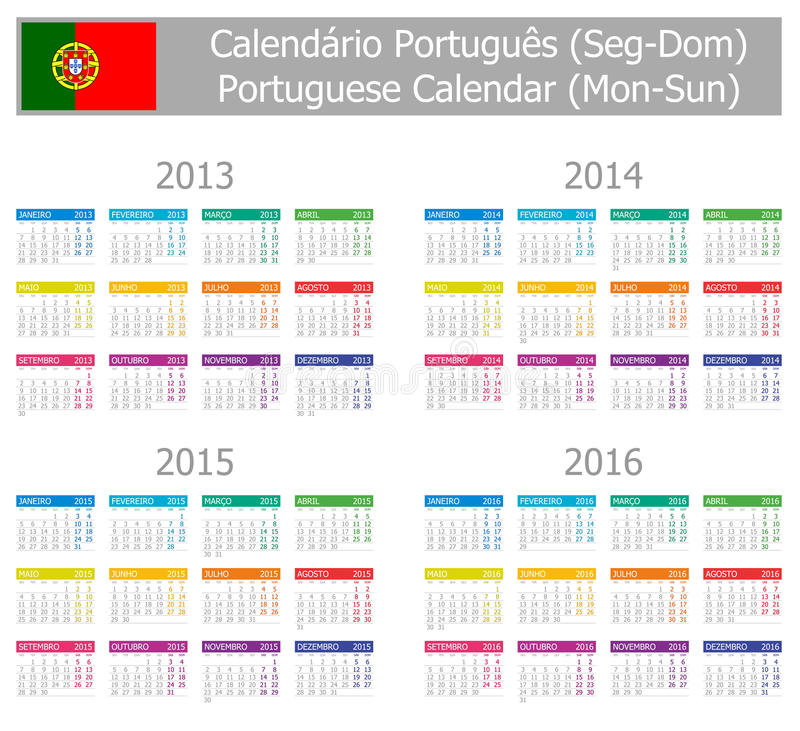Download 2013-2016 Type-1 Portuguese Calendar Mon-Sun Stock Vector - Illustration: 24386836