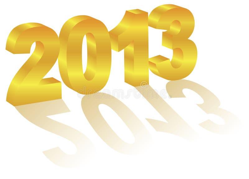2013 3 Nowego Roku Liczebnik Złocisty ilustracji