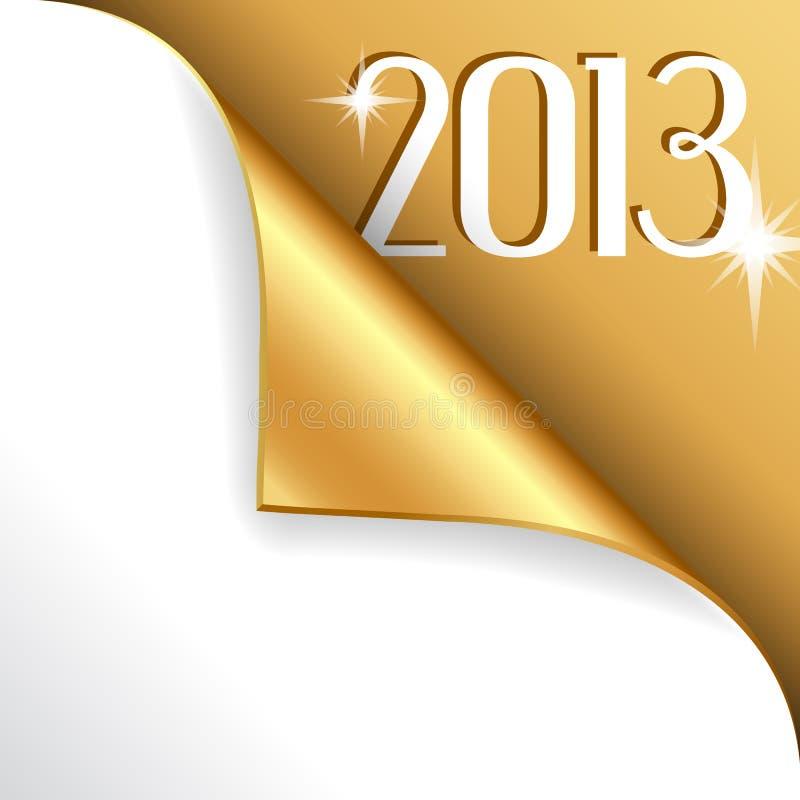2013 ans neufs avec le coin enroulé par or illustration stock