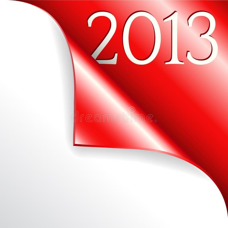 2013 avec le coin enroulé rouge illustration libre de droits